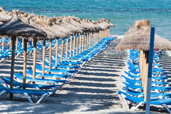 Deckchairs and umbrellas in a row Royalty Free Stock Images