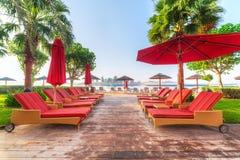 Deckchairs vermelhos vazios no mar Imagens de Stock