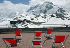Deckchairs with view of Breithorn Royalty Free Stock Photo