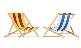 Deckchairs. wooden beach chairs. Red and blue Deckchairs. wood chair Stock Photos
