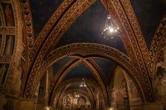 Decke der Basilika von StFrancis von Assisi Italien Stockfotos
