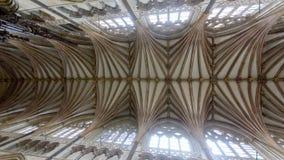 Decke des Chores in Exeter-Kathedrale, Ansicht vom hohen Altar stockfoto