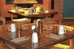Decked table restaurant Stock Photos