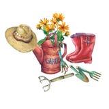 Decken rote Gartengießkanne der Weinlese mit einem Blumenstrauß von gelben Blumen, rote Gummistiefel, Solarhut von und Gartenwerk lizenzfreie abbildung