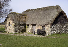 Decken Sie Dachhäuschen - Culloden, Schottland mit Stroh Stockfotos