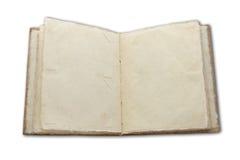 Decken Sie das geöffnete Buch ab, das auf weißem Hintergrund getrennt wird Stockbild