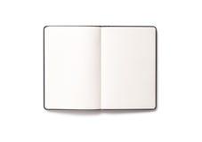 Decken Sie das geöffnete Buch ab, das auf weißem Hintergrund getrennt wird Lizenzfreies Stockfoto