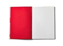 Decken Sie das geöffnete Buch ab, das auf weißem Hintergrund getrennt wird Front View Lizenzfreies Stockfoto