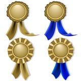 Decken Sie Dichtungen und Medaillen im Gold ab Lizenzfreie Stockfotos