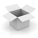 Decken Sie geöffneten weißen Kasten ab Stockfotografie