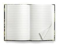 Decken Sie geöffnetes Papiernotizbuch ab Stockfotos