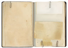Decken Sie geöffnetes Weinlese-Buch ab Stockfotos