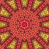 Decken Sie glänzendes Kaleidoskop der Mandala in Orange, in Gelbem und Rot oder Grenadine mit Ziegeln stock abbildung