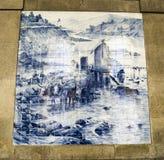 Decken Sie Malerei des Bauernhofes in Sao Bento-Station, Portugal mit Ziegeln Stockfoto