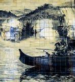 Decken Sie Malerei des Bootes in Sao Bento-Station, Portugal mit Ziegeln Stockfotos