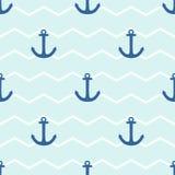 Decken Sie Seemannvektormuster mit Anker auf Hintergrund der weißen und blauen Streifen mit Ziegeln Stockbild