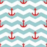 Decken Sie Seemannvektormuster mit rotem Anker auf Hintergrund der weißen und blauen Streifen mit Ziegeln Stockfoto