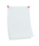 Decken Sie thumbtacked Seite des quadrierten Papiers mit Schatten ab Lizenzfreie Stockfotos