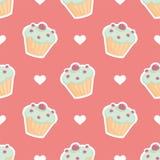 Decken Sie Vektormuster mit kleinem Kuchen und Herzen auf rosa Hintergrund mit Ziegeln Stockfoto