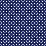 Decken Sie Vektormuster mit weißen Tupfen auf Marineblauhintergrund mit Ziegeln Lizenzfreie Stockbilder