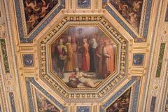 Deckenfresko durch Giorgia Vasari und Giovanni Stradano im Raum von Gualdrada, Palazzo Vecchio, Florenz, Italien Stockbilder