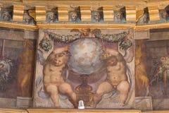 Deckenfreskofragment im Raum von Herkules in bei Palazzo Vecchio, Florenz, Italien Stockfotografie