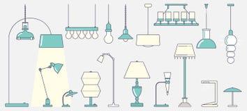 Deckenleuchte und klassische Tischlampe Flaches Design Stock Abbildung