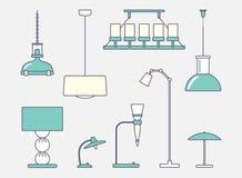 Deckenleuchte und klassische Tischlampe Flaches Design Vektor Abbildung
