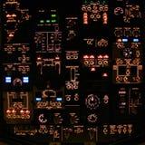 Deckenschalttafel des Führerraums eines modernen Verkehrsflugzeugs. Lizenzfreies Stockfoto