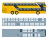 Decker Bus doble o interurbano isométrico y plan de los arreglos del asiento Transporte urbano Para el infographics y el diseño ilustración del vector