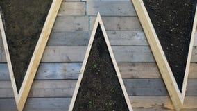 Decking di legno con sporcizia Fotografia Stock Libera da Diritti
