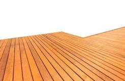 Decking en bois et plancher d'isolement sur le fond blanc photo stock