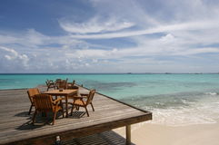 Decking, Kurumathi Maldives Photographie stock libre de droits