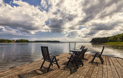 Decking by lake Stock Image