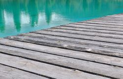 Decking to the water's edge Royalty Free Stock Image