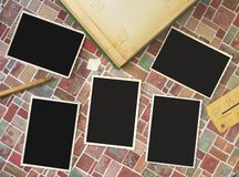 Deckle edged picture frames. Vintage deckle edge picture frames, free copy space, album, pencil, ticket, grungy Royalty Free Stock Photos