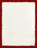 Deckled έγγραφο με τα κόκκινα σύνορα στοκ εικόνα