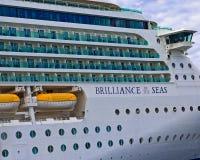 Decks on Brilliance of the Seas. Many decks on the starboard side of Brilliance of the Seas royalty free stock photography