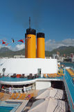 Decks of cruise liner. Port Louis, Mauritius stock photography