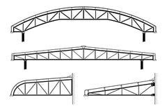 Deckungsgebäude, Stahlrahmen, Dachbindersammlung, Vektorillustration Lizenzfreie Stockbilder