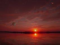 Declínio vermelho em um planeta de uma outra pessoa Imagem de Stock Royalty Free