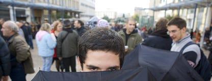 Declaimers em Atenas 18_12_08 foto de stock royalty free
