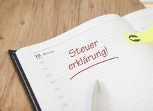 Declaração de imposto do calendário Imagem de Stock Royalty Free