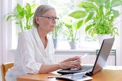 Declaração de imposto superior do portátil da mulher imagens de stock