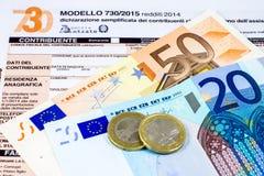 Declaração de rendimentos italiana chamada 730 fotografia de stock royalty free