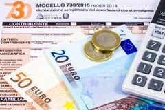 Declaração de rendimentos italiana chamada 730 fotografia de stock