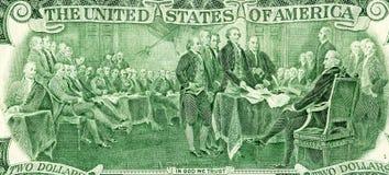 Declaração do desenho da independência dos dois dólares imagens de stock