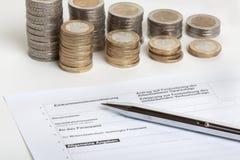Declaración de impuestos Fotos de archivo libres de regalías