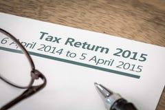 Declaración de impuestos 2015 fotos de archivo libres de regalías