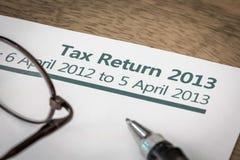 Declaración de impuestos BRITÁNICA 2013 Imagen de archivo